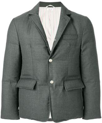 Thom Browne Center-Back Stripe Down-Filled Solid Wool Sport Coat