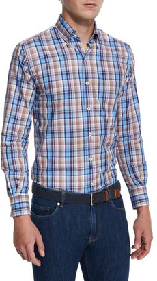 Peter Millar Farmington Plaid Long-Sleeve Sport Shirt $145 thestylecure.com