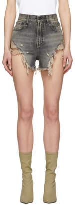 R 13 Black Shredded Slouch Short