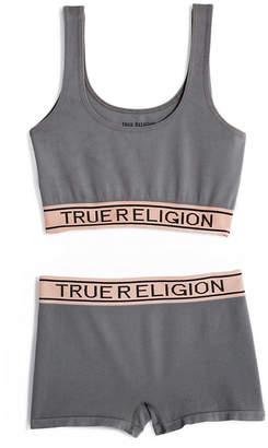 True Religion WOMENS BRALETTE AND BOY SHORT SET