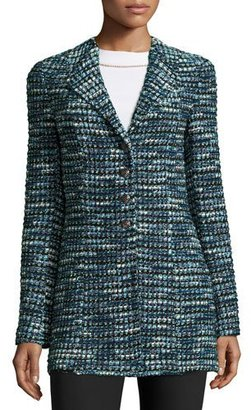 St. John Collection Martinique Tweed Long Jacket, Caviar/Laguna/Multi $1,695 thestylecure.com