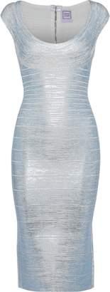 Herve Leger Metallic Coated Bandage Dress