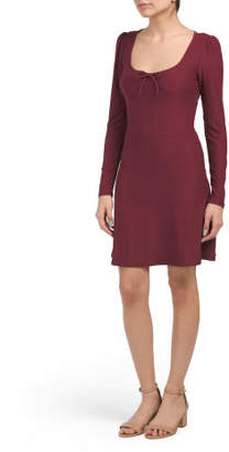 Juniors Skater Dress With Front Tie