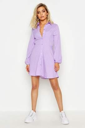 boohoo Woven Button Through Polka Dot Shirt Dress