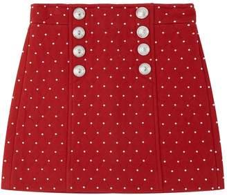Balmain Studded A-Line Skirt