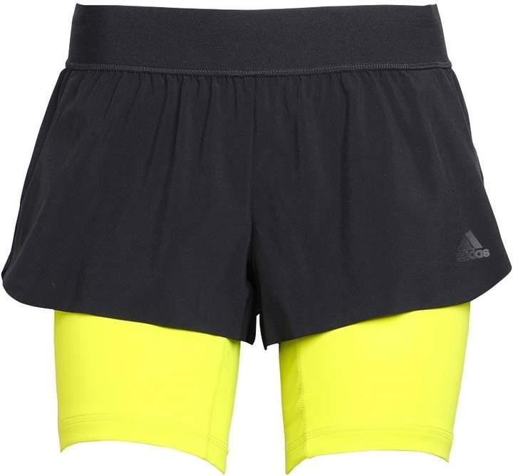Damen 2 In 1 Gym Shorts Schwarz