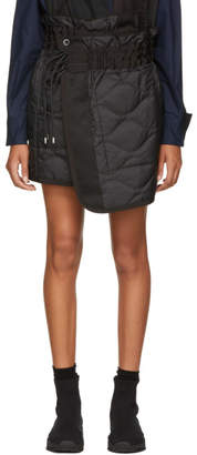 Sacai Black Quilted Nylon Wrap Miniskirt
