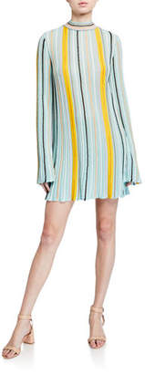 M Missoni Striped Mock-Neck Tie-Back Long-Sleeve Trapeze Dress