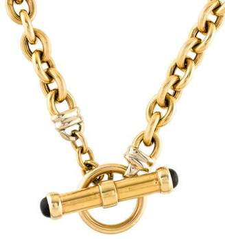 14K Onyx-Accented Chain Necklace