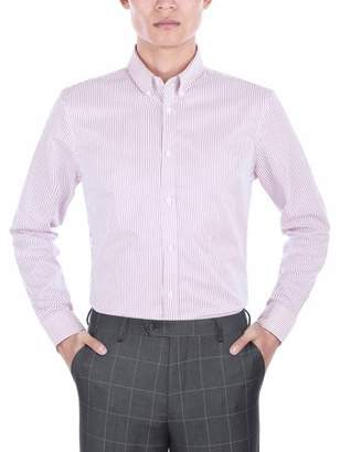 Verno Mens Slim Fit Long Sleeve Purple and White Stripe Dress Shirt