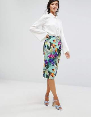 Oasis Tropical Pencil Skirt $72 thestylecure.com