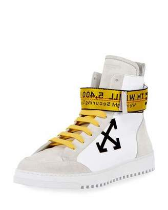 Off-White Suede & Leather High-Top Sneaker, White/Black $630 thestylecure.com