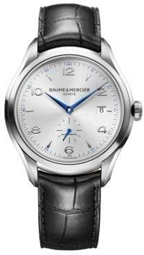 Baume & Mercier Baume& Mercier Baume& Mercier Men's Clifton 10052 Stainless Steel& Alligator Strap Watch - Black