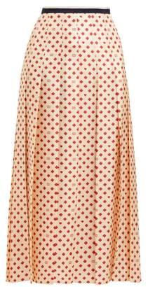 Gucci Pleated Clover Print Silk Satin Skirt - Womens - Ivory Multi