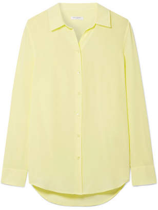 Equipment Essential Washed-silk Shirt - Pastel yellow