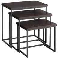 Martin Svensson Home Espresso 3 Piece Solid Wood Nesting Table