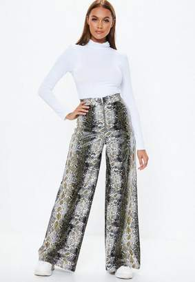 Missguided Gray Snake Print Faux Leather Pants