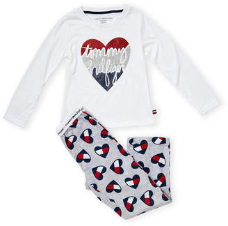 Tommy Hilfiger Girls 7-16) Two-Piece Glitter Heart Tee & Pajama Pants Set