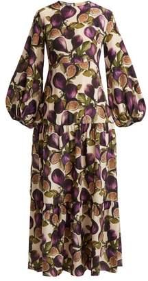 Adriana Degreas Silk Crepe De Chine Fig Print Dress - Womens - Purple Print