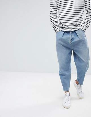 Asos DESIGN Barrel Jeans In Vintage Light Wash Blue