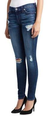 True Religion WOMENS DISTRESSED NEON STITCH SKINNY JEAN W/ FLAP