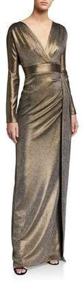 Rickie Freeman For Teri Jon Draped Metallic V-Neck Long-Sleeve Column Gown