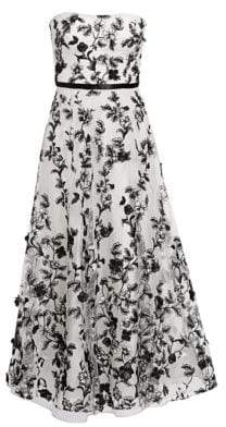 Marchesa Women's Floral-Embellished Fit-&-Flare Gown - Black White - Size 0