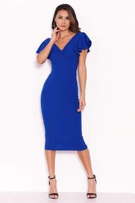 Next Womens AX Paris Front Knot Frill Sleeve Bodycon Dress