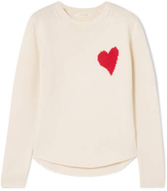 Chinti and Parker Confetti Heart Cashmere And Wool-blend Sweater - Cream