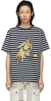 J.W.Anderson Navy Gilbert and George Edition Foil Dolphin T-Shirt