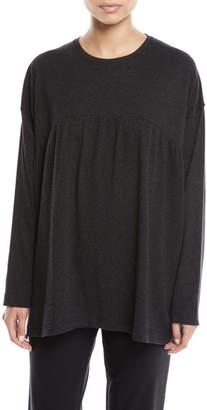 eskandar Pleated Front Round-Neck Melange Pima Cotton Jersey T-Shirt