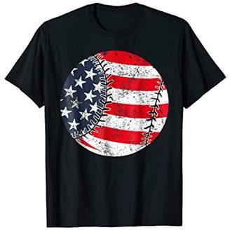 American Flag BaseBall Softball 4th Fourth of July T Shirt