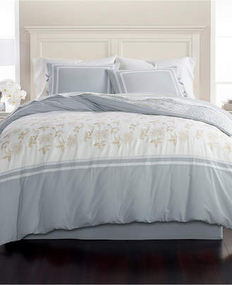 Martha Stewart Collection Closeout! Collection Embroidered Floral Reversible Cotton 8-Pc. King Comforter Set, Created for Macy's Bedding