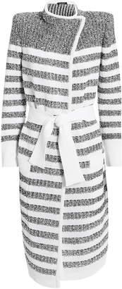 Balmain White Lurex-Striped Long Cardigan