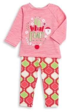 Rare Editions Baby Girl's Two-Piece Coral Sweater and Leggings Set
