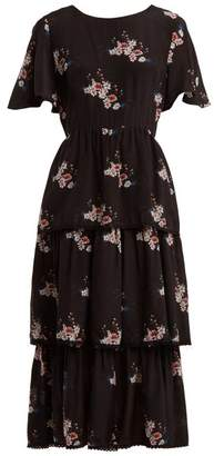 Athena Procopiou - Three Tier Floral Print Dress - Womens - Black Print