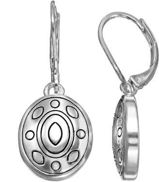 Napier Textured Oval Drop Earrings