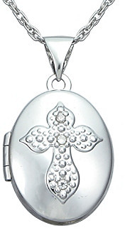 Precious Moments .02 ct. t.w. Diamond and Sterling Silver Cross Locket Pendant
