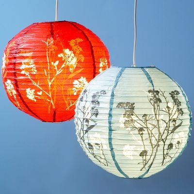 Red or Blue Floral Paper Lantern