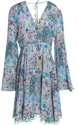 Matthew Williamson Pom Pom-Trimmed Printed Silk Mini Dress