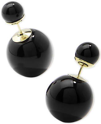 Zenzii Gold-Tone Double Ball Front-and-Back Earrings