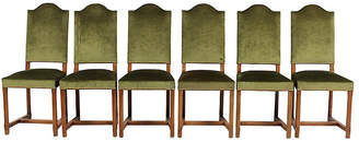 One Kings Lane Vintage French Country-Style Green Velvet Chairs