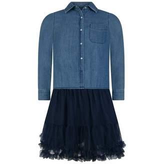 Silvian Heach KidsGirls Blue Chambray & Tulle Dress