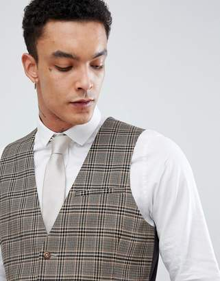 Asos DESIGN skinny suit vest in wool blend camel check