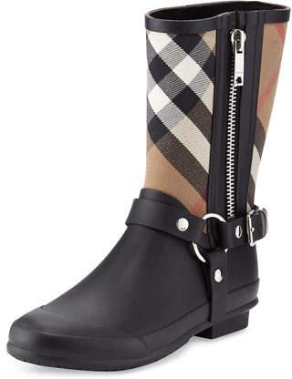 Burberry Zane Check Harness Rain Boot, Black