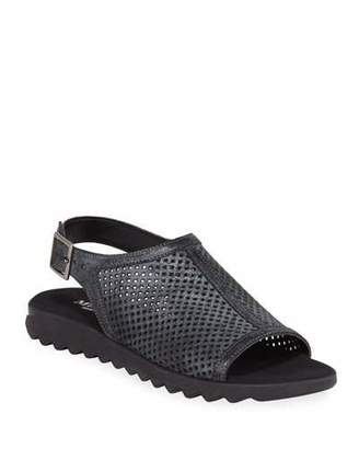 Sesto Meucci Tracy Perforated Shimmery Flat Sandals