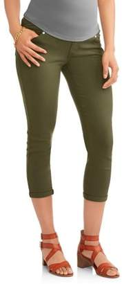 Oh! Mamma Maternity Demi Panel Stretch Twill Skinny Capri with 5 Pockets and Roll Cuffs--Available in Plus Size