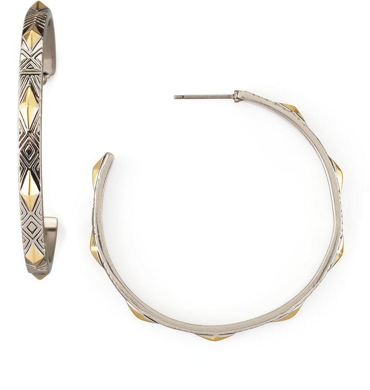 House Of Harlow Engraved Marquis-Stud Hoop Earrings
