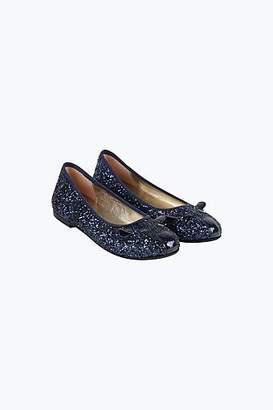LITTLE MARC Glitter-Coated Leather Ballerina Flats