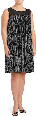 Vince Camuto Women's Printed Illusion Dress - Rich Black, Size 2x (18-20)